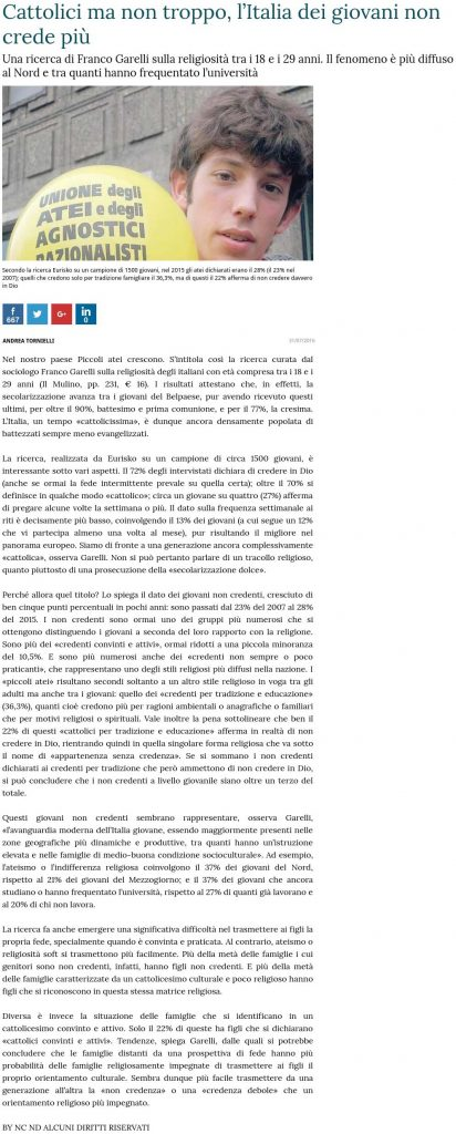 Cattolici ma non troppo, l'Italia dei giovani non crede più - La Stampa