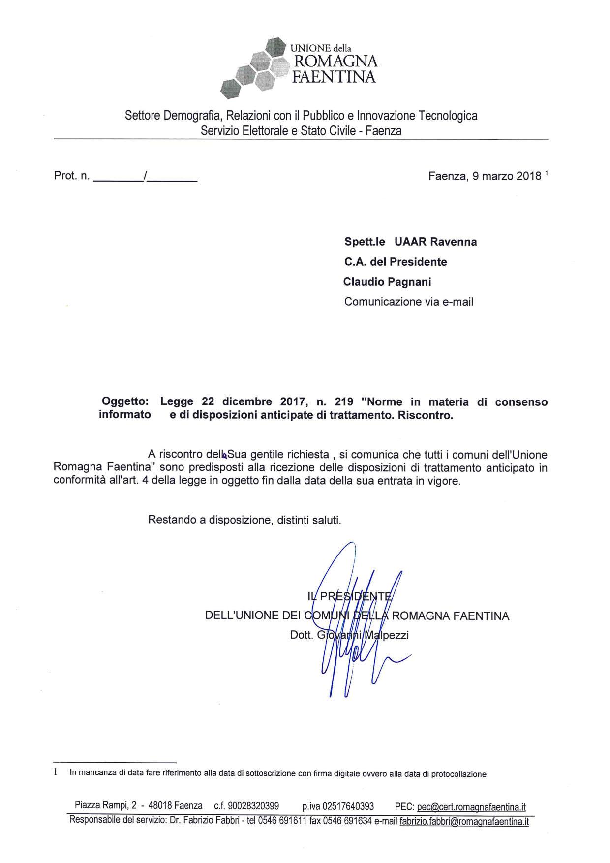 Dat adeguamento legge Unione Comuni Faentina 2018