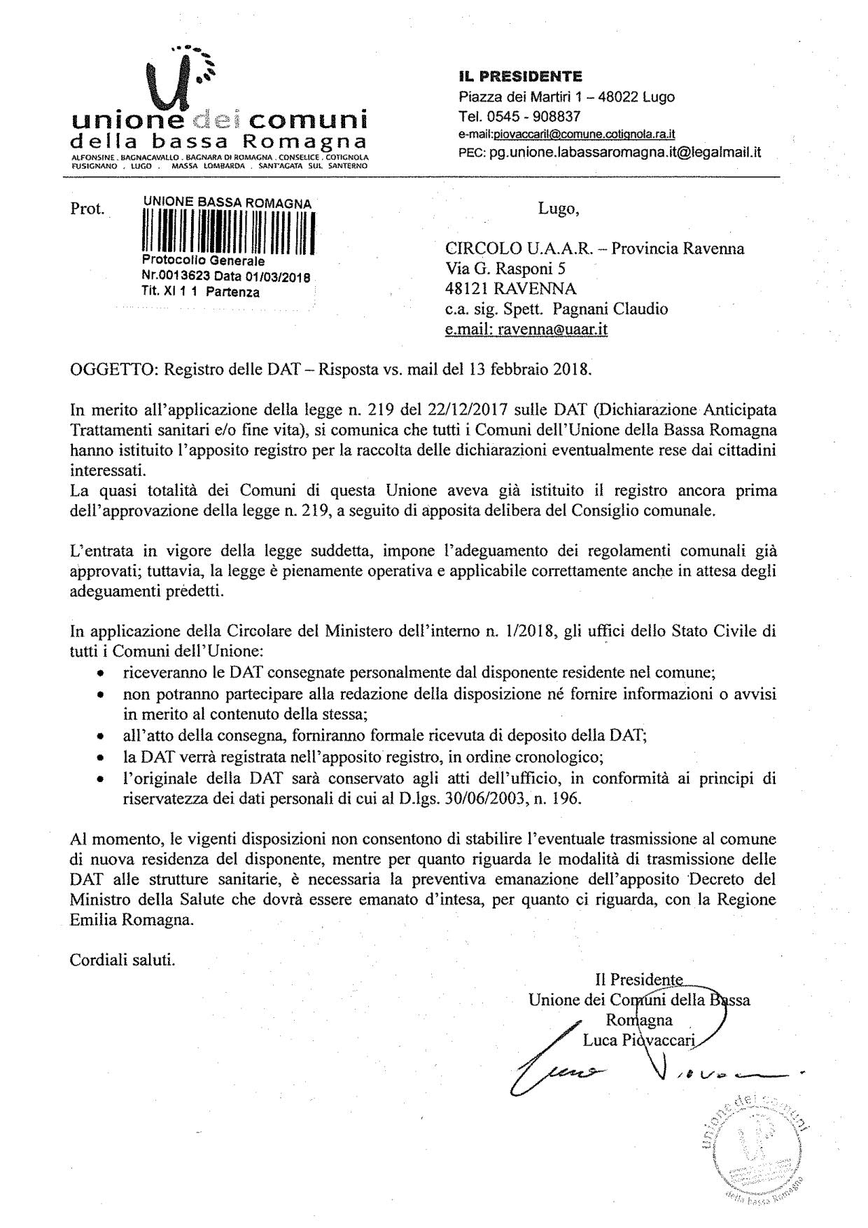 Dat adeguamento legge Unione ComuniBassa Romagna 2018