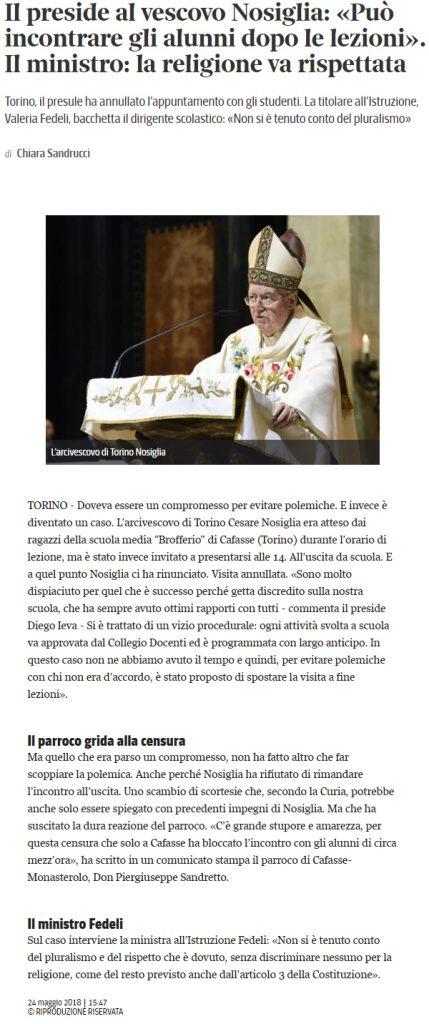 Torino- Vescovo Nosiglia visita pastorale scuola Preside dice no