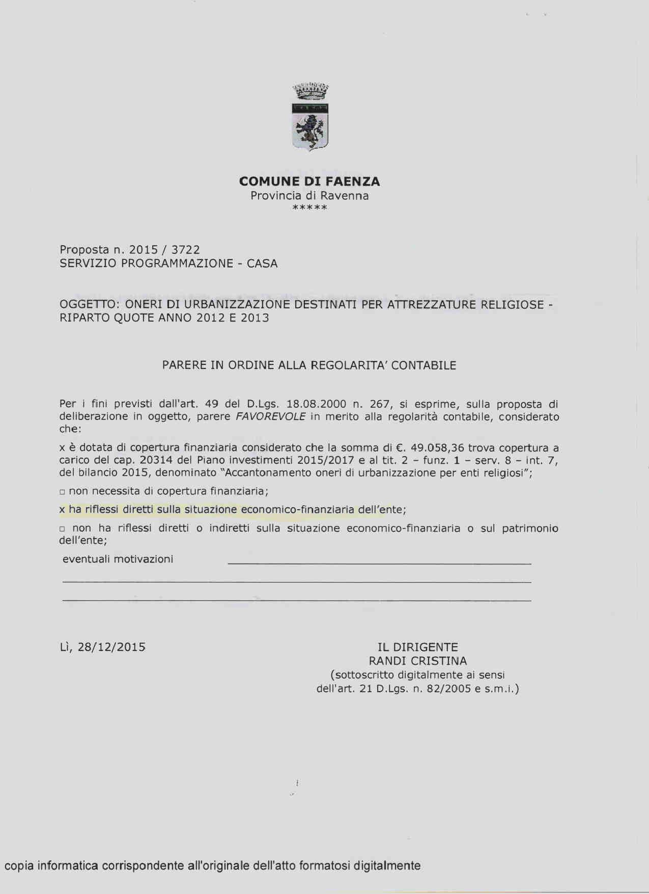 OU2 Comune Faenza 2011- 20164