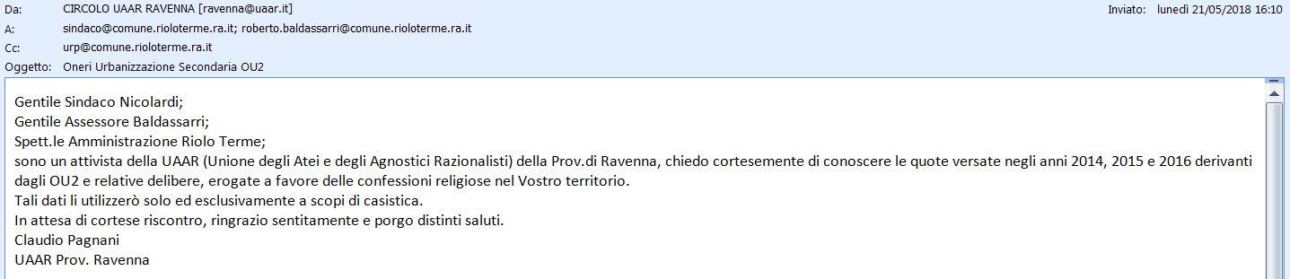 Riolo Terme richiesta OU2 2014, 2015, 2016